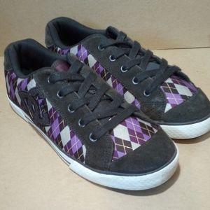 Black/Purple Diamond Checkered Plaid DC Skater Sho
